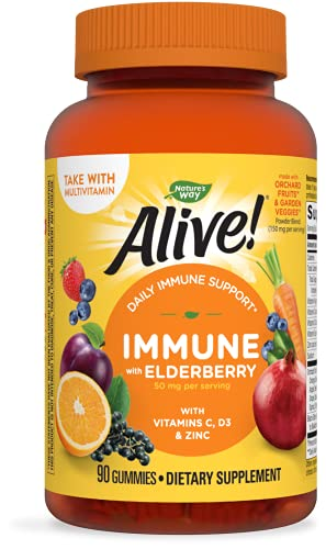 Nature's Way Alive! Immune Gummies, Food-Based Blend (150mg per serving) and Elderberry, Gluten Free, Made with Pectin, 90 Gummies