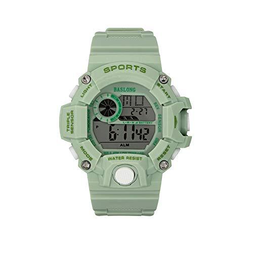 Reloj Deportivo Electrónico para Hombre Luminoso Impermeable Al Aire Libre Multifunción Estudiante Reloj Electrónico Reloj Deportivo Verde Matcha