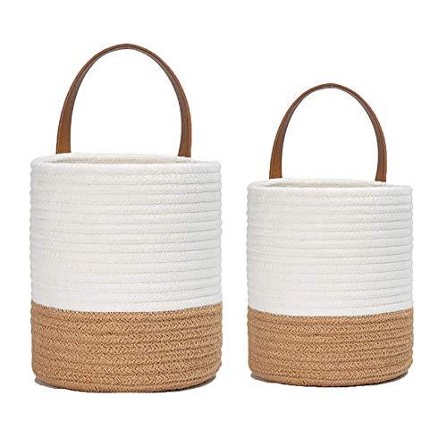 ASSR Paquete de 2 cestas de almacenamiento para colgar en la pared, de cuerda de algodón, para colgar en el armario, organizador para plantas de flores, juguetes, decoración del hogar y jardín
