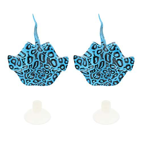 MagiDeal 2 Pièces Décoration D'ornement de Poisson Diable Brillant pour Aquarium - Bleu