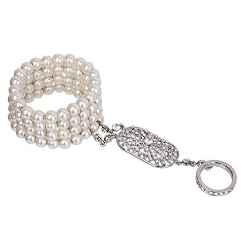 ZLININ Y-longhair The Great Gatsby Inspired 1920s Pearl Bracelet Ring Set Rhinestone Crystal
