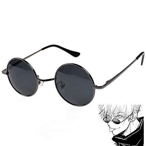YesCoser Gojo Satoru Cosplay Brille, Anime Jujutsu Kaisen COS Prop Retro Kleine Runde Brille (Medium)