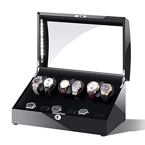 FGVBC Devanadera automática de Madera para Relojes, Caja de presentación de Almacenamiento de 6 + 6 Relojes, 5 Modos de rotación con luz LED, Almohadas de Cuero, Vida Feliz