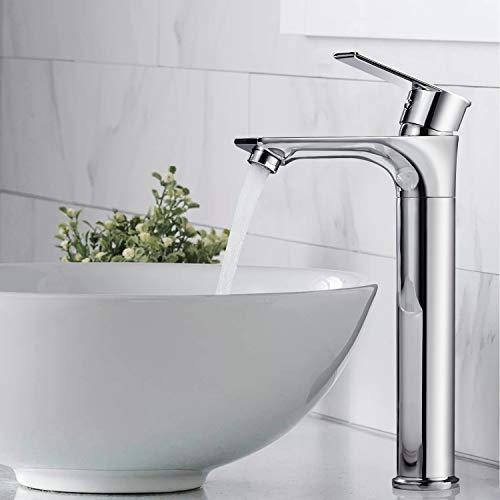 BONADE 360° Drehbar Wasserhahn Bad Hoch Waschtischarmatur Mischbatterie Waschtisch Badarmatur Messing Einhebelmischer Armatur Chrom Waschbeckenarmatur für Badzimmer