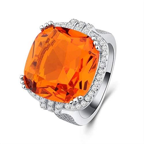 Thumby ring edelstenen oranje overdreven feestartikelen onmisbaar met ring, halfedelstenen, dames, dansen, wandset, geometrische cocktailring, maat S