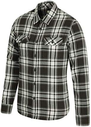 Mountain Warehouse Camisa de Franela de Manga Larga Trace para Hombre