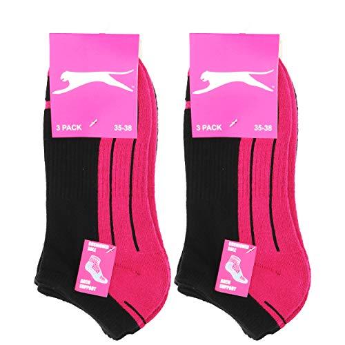 Slazenger 6 Paar Socken Bequeme Damensneaker, Frottee-Innensohle, ausgezeichnete Qualität aus gekämmter Baumwolle (Schwarz-Fuxia, Schwarz-Lila, Schwarz-Grau, 39-42)