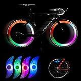 Barley33 Luz de Radio de Bicicleta, luz de Rueda de Bicicleta de 4 Colores Llanta de Bicicleta Luz de Radio de neumático Lámpara de luz Brillante LED