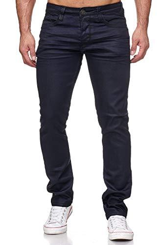 EGOMAXX Herren Jeans Hose Coated Leder Optik Beschichtet H2171, Farben:Schwarz, Größe Jeans:W28