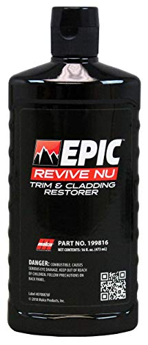 Malco Epic Revive Nu Plastic Trim & Cladding Restorer - Restores Faded and Dried Out Plastic/Vinyl and Rubber Back to Black or Gray Finish / 16 Oz (199816)