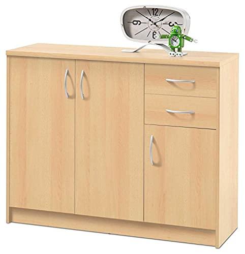 Kommode Sideboard Mehrzweckschrank | Dekor | Buche | 3 Türen | 2 Schubladen