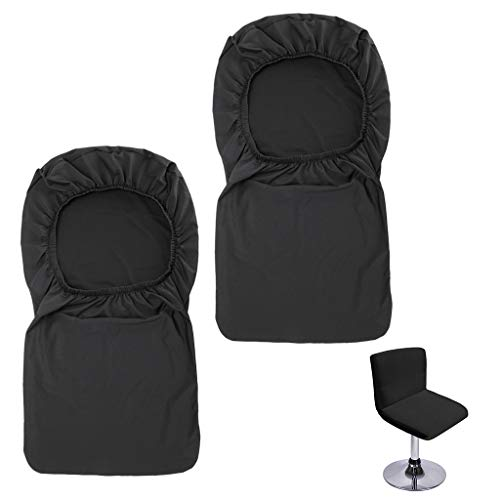 BTSKY Juego de 2 fundas negras para taburetes de bar con respaldo y funda elástica para silla de comedor giratoria corta (sin sillas).