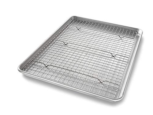 Half Sheet Baking Pan and Bakeable Nonstick Cooling Rack (2 Count)