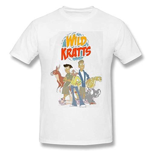 Camiseta básica de Manga Corta con Cuello Redondo para Hombre Tops Casuales de algodón Wild Kratts 3XL