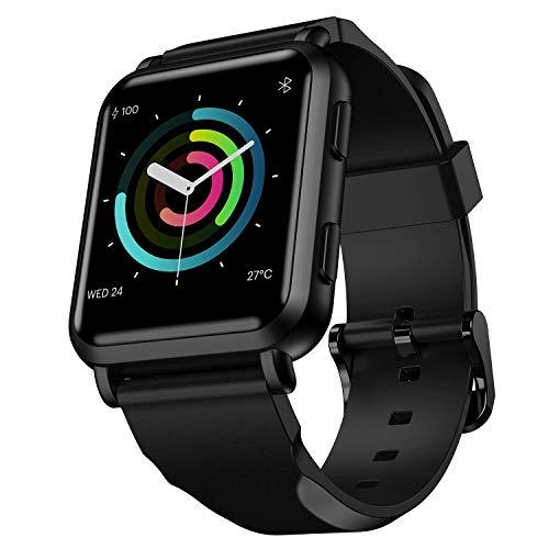 FINFIT GTM Smartwatch con GPS Integrado,Reloj Inteligente Monitor de frecuencia cardíaca 24/7 Health & Fitness Tracker,Pantalla táctil Completa Notificaciones FB/wahtsAPP, (Stealth Black)