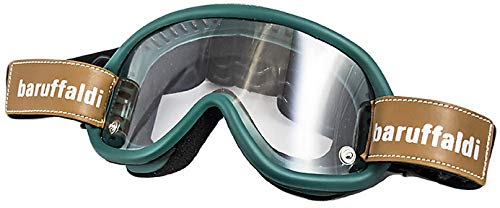 Kit Moto Occhialoni moto per attività esterna 3 Lenti Intercambiabili Baruffaldi Speed 4 Motocicletta/Cross/ATV/Sci/Google Anti-UV trasparente (Verde Bosco)