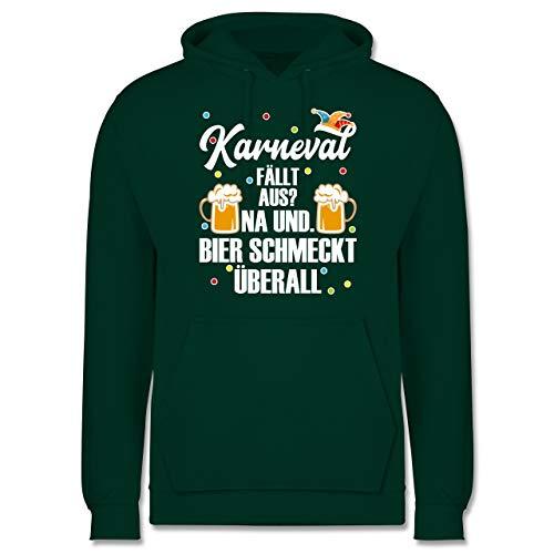 Shirtracer Karneval & Fasching - Karneval fällt aus Bier schmeckt überall - weiß - XXL - Dunkelgrün - Fun - JH001 - Herren Hoodie und Kapuzenpullover für Männer