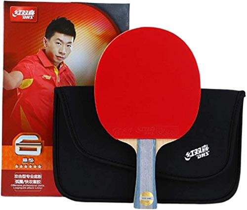 DHS 6-Star Tischtennisschläger Ping Pong Paddel 6002 (langer Griff), Doppelnoppen-Schläger, Shake-Hands Grip