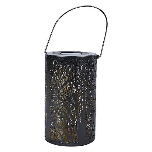 MARIJEE Farol de hierro forjado para exteriores, impermeable, LED, para colgar en la pared, portátil, para patio, linterna de jardín dorada, decoración para jardín, césped, patio, patio (A)