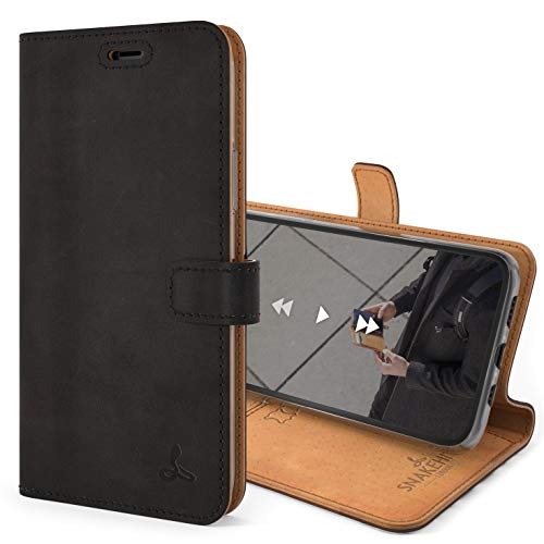Snakehive iPhone 11 Pro Max Schutzhülle/Klapphülle echt Lederhülle mit Standfunktion, Handmade in Europa Bye iPhone 11 Pro Max (Schwarz)