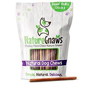 Nature Gnaws Thin Bully Sticks for Small Dogs – Premium Natural Beef Bones – Slim Dog Chew Treats for Light Chewers & Senior Dogs – Rawhide Free – 6 Inch, Brown, 2 LB Bag