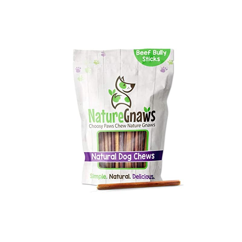 dog supplies online nature gnaws thin bully sticks for small dogs - premium natural beef bones - slim dog chew treats for light chewers & senior dogs - rawhide free - 6 inch, brown, 2 lb bag