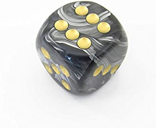 Black Lustrous Die with Gold Pips D6 30mm (1.18in) Pack of 1 Chessex