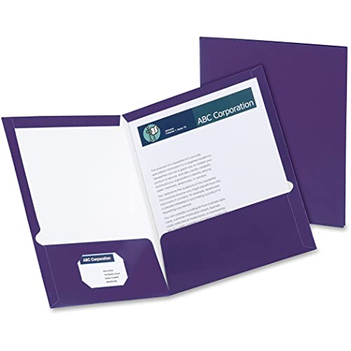 Oxford Laminated Twin-Pocket Folders, Letter Size, Purple, Holds 100 Sheets, Box of 25 (51726EE)