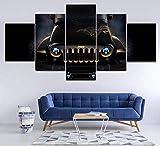 Airxcn Jeep 5 Panel Leinwand Wandkunst Home Wohnzimmer