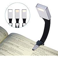 LED Lampara de lectura, LANDEE Luz de Libro USB Recargable, Luz de Noche, Cuidado de Los ojos, 3 Modos de Clip de Brillo en el Libro, 360 ° Flexible, Cama Portátil Con iluminación (Plateado)