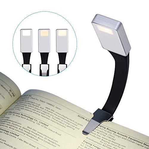 LED Lampara de lectura, LSNDEE Luz de Libro USB Recargable, Luz de Noche, Cuidado de Los ojos, 3 Modos de Clip de Brillo en el Libro, 360 ° Flexible, Cama Portátil Con iluminación (Plateado)