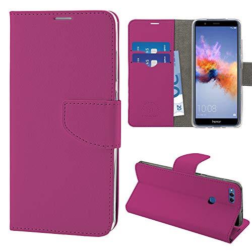 N NEWTOP Cover Compatibile per Huawei Honor 7X, HQ Lateral Custodia Libro Flip Chiusura Magnetica Portafoglio Simil Pelle Stand (Fucsia)