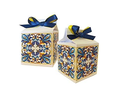 50 scatoline Milk portaconfetti per Festa a Tema Fai da Te in Varie grafiche per Ogni Evento Ideali per Creare Una Bellissima bomboniera (maioliche)
