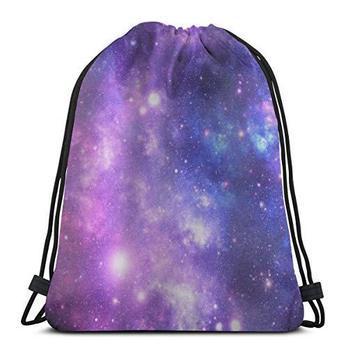 "Yuanmeiju Purple Space Stars 3D Print Drawstring Backpack Rucksack Shoulder Bags Bolsa de Gimnasio For Adult 17""X14"""