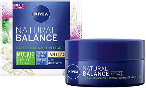 NIVEA Natural Balance Straffende Nachtpflege (50 ml), Feuchtigkeitscreme mit Bio Klettenwurzel Extrakt, Anti-Age Nachtcreme mildert Falten und Linien sichtbar über Nacht