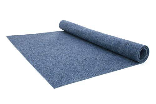 Nadelfilz Teppich-Boden RIPS MALTA B1 als Meterware - Blau, 2,00m x 2,00m, Schwer Entflammbarer, Gerippter Bodenbelag für Messe & Event