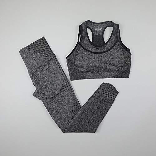 YHWW Ropa de Yoga,Conjuntos de Yoga de 2 Piezas Ropa de Gimnasio para Mujeres Fitness Leggings sin Costuras de Cintura Alta Sujetador Deportivo Push Up Ropa Deportiva Femenina Conjunto de en