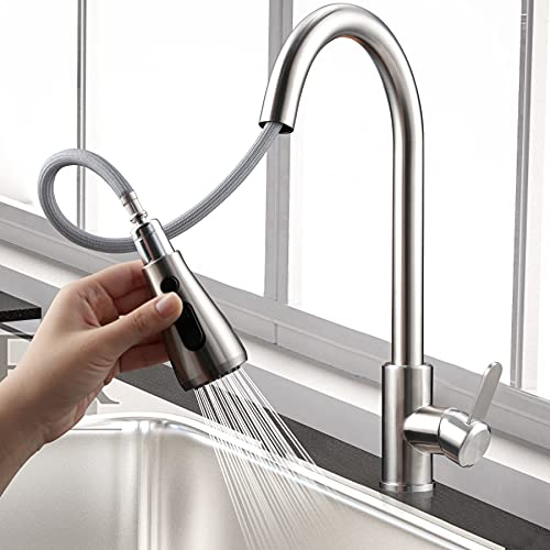 Kkototial Kitchen Faucets with Pull Down Single Hole Sink Faucet with Sprayer Kitchen Sink Faucet Stainless Steel Faucet Pull Out Single Handle High Arc Faucets for Farmhouse Bar Kitchen Sink