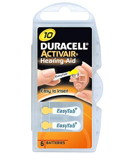 Duracell Type 10 Lot de 60 piles de prothèse auditive Activair Jaune