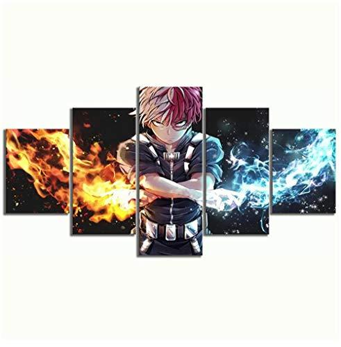 Stampe e Quadri su Tela Wall Art HD My Hero Academia Anime 5 Panel Decorazioni per La Casa Immagini Modulari Poster per Soggiorno Senza Cornice