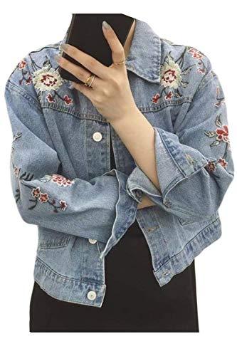 Lannister Fashion Vaqueras Jacket Mujer Bonita Ropa Hipster Hipster Outerwear Primavera Otoño Cazadoras De Solapa Bordadas De Flores Manga Larga con Bolsillos Un Solo Pecho Abrigos Chaqueta
