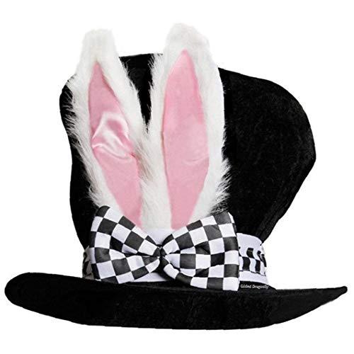 1pc del Sombrero De Copa con Terciopelo Orejas De Conejo Conejo Nios del Traje del Funcionamiento Divertido Regalo De La Felpa Topper con Cuadros
