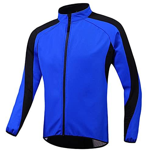TDHLW Chaqueta de Ciclismo para Hombre Chaqueta Térmica de Invierno Impermeable para Correr en Bicicleta Cortavientos MTB a Prueba de Viento,Azul,XL