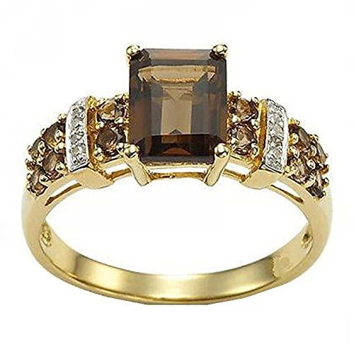 Anillos de cristal de circonita cuadrados de moda para mujer, joyería de anillo de dedo para fiesta de compromiso10champagne
