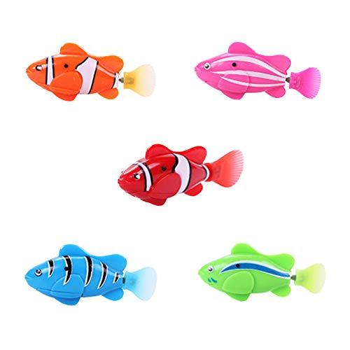 4PCS Batteriebetriebener Elektrischer Schwimmender Fisch, Goldfisch Baden Bunt Leuchtend Leuchtendes Goldfischspielzeug Kinder Badewanne Badewanne Pool Duschspielzeug (4 × Fisch)