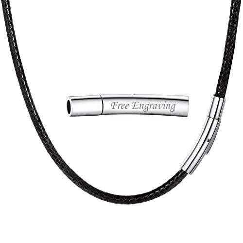 PROSTEEL Collar de Cuero Genuino para Hombre, Negro 3mm Cadena de Cuero con Cierre de Acero Inoxidable Collar Básico, 50cm Regalo para Hombre Regalo para Mujer