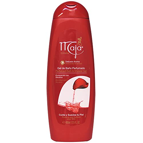 Maja Bath and Shower Gel, Body Wash enriched with Glycerin, Protects and Softens your skin keeping it clean and fresh, 13.5 FL Oz, Bottle.