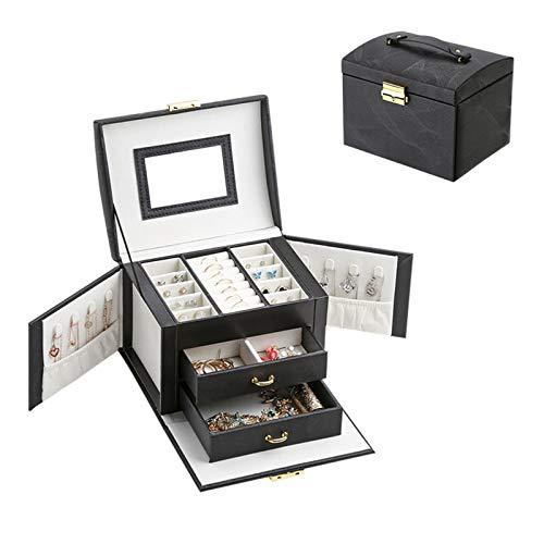 Secret night Caja de joyería Caja de imitación, Organizador con Bloqueo de Espejo, Pantalla para Pendientes Anillos de Pulseras,2