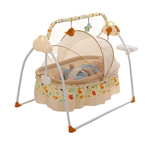 Review VAIY Baby Swing Bed Crib Cradle Smart Playpen Blue, Khaki, Pink (Color : Khaki)