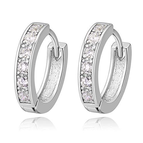 18K Oro Blanco Chapado Aretes con Diamante con Zirconia Cúbica, Pendientes de Aro, Hoop Earrings para Mujeres (Plata)
